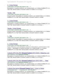 Imagen del buscador Google, donde se puede ver el problema de duplicidad de contenido que afecta a Bicicletas Gil.